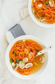 easy clear soup with carrot noodles inspiralized