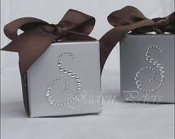 personalized wedding favor boxes silver wedding favor boxes white bow rhinestones 25th