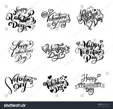 happy valentines day lettering set hand stock vector 557296171