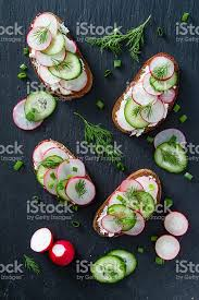 Cottage Dill Bread by Sandwich With Cottage Cheese Radish And Cucumber Dill Stock Photo