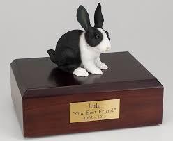 urns for cremation black white rabbit cremation figurine urn w wooden storage box