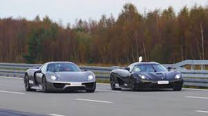 koenigsegg germany porsche 918 spyder vs koenigsegg agera r drag race