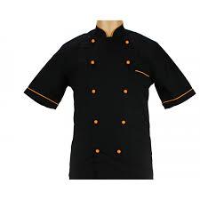 veste de cuisine noir vêtement de cuisine noir avec un liseré orange lisavet