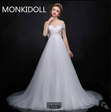 Chapel Train Wedding Dresses Best Selling A Line Off The Shoulder Wedding Dresses Empire