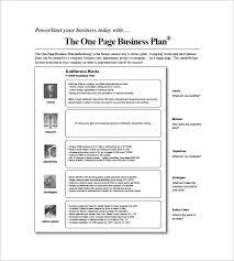 1 page business plan templates memberpro co