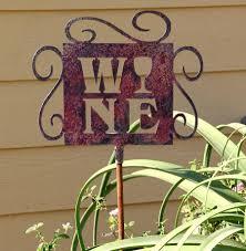 wine themed yard art outdoor metal decor for home wine yard
