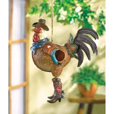 cowboy rustic country western rooster hanging birdhouse garden