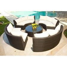 Outdoor Patio Conversation Sets by Source Outdoor Circa All Weather Wicker Round 4 Bench Conversation
