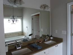 Bathrooms Mirrors Ideas by Frameless Bathroom Mirror Yellow And Gray Wallpaper With Mini