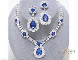 blue sapphire necklace set images Sapphire blue rhinestone necklace set bridal statement necklace jpg