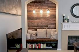 reading nook with wood plank wall gray house studio