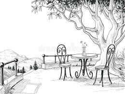 restaurant terrace sketch stock vector image of dinner 45264103