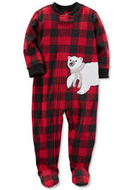 s s 1 pc buffalo check print footed fleece pajamas