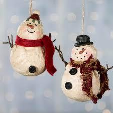 primitive paper clay snowman ornament paper clay snowman and