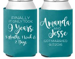 wedding koozie ideas wedding koozie etsy