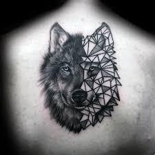 wolf tattoo behind ear geometric tattoo 90 geometric wolf tattoo designs for men manly