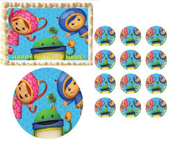 team umizoomi characters waving edible cake topper frosting sheet