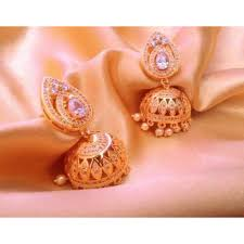 big jhumka gold earrings real look gold diamond jhumka earrings