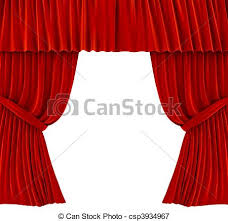 stock illustrations of red curtains over white 3d rendered image