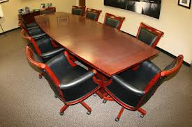 used conference room tables executive conference table 10 matching leather wood chairs