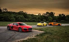 vs porsche 911 turbo audi r8 v10 plus vs mclaren 570s vs porsche 911 turbo s