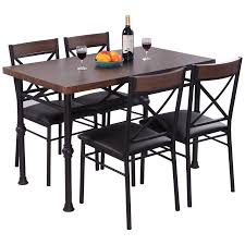 metal kitchen furniture costway 5 dining set table and 4 chairs wood metal kitchen