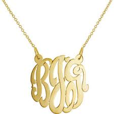 gold plated monogram necklace gold monogram necklace sterling silver 1 25 inch personalize