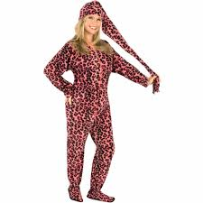 pink leopard footed pajamas with drop seat and