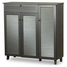 Storage Cabinet Baxton Studio Adalwin 3 Door Entryway Shoes Storage Cabinet