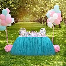 Baby Shower Theme Decorations Amazon Com Aerwo Aqua Blue Tutu Table Skirts 30 By 39 Inch Baby