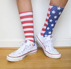 personalized socks and stripes print custom socks white and blue