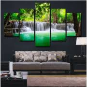 green wall decor 5 pieces unframed large modern abstract art hd waterfall canvas