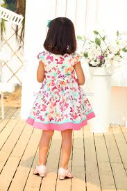 latest design butterfly printing baby wool dress children