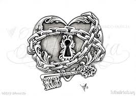 diamond heart lock tattoo design