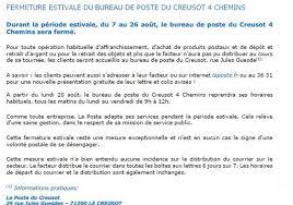 Bureau De Poste 7 - edition le creusot fermeture estivale du bureau de poste des 4
