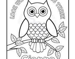 Owl Coloring Pages Etsy Owl Color Pages