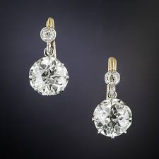 dimond drop 2 40 carats vintage diamond drop earrings