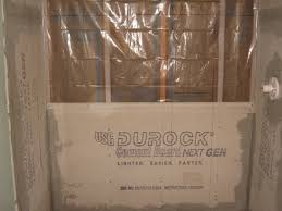 conventional shower construction with cement board for tile bathrooms conventional shower construction with durock cement board and 6 mil plastic