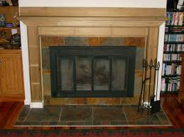 hand made poplar mantel with slate surround hearth by anders