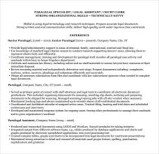 Sample Of Paralegal Resume by Sample Paralegal Resume 11 Download Free Documents In Pdf Word