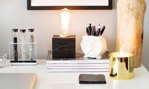 White Desk Accessories by Stylish Desk Accessories In White Black And Gold Live Stylish