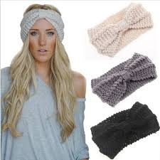 headband wrap 1pc women crochet bow knot turban knitted wrap hairband