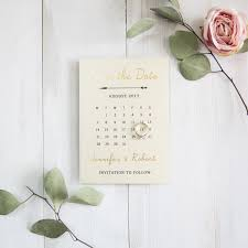 save the date wedding cards pale gold foil pressed calendar wedding save the date