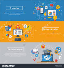 design online education set of flat line design web banners for online education vector save