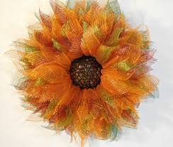 sunflower mesh wreath orange ombre flower wreath flower wreath orange deco mesh flower