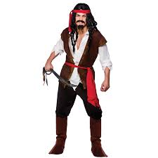 Mens Gangster Halloween Costume Mens Caribbean Pirate Man Costume Sea Buccaneer Fancy Dress