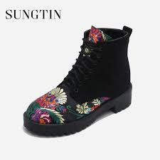 motorcycle booties sungtin 2018 spring fashion flower embroidery lace up ankle boots