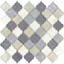 arabesque grey glass arabesque tile glossy dtl3006