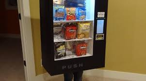 kid dresses up as a vending machine and other inanimate objects