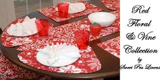 outdoor placemats for round table sweet pea linens red floral and vine collection of placemats for